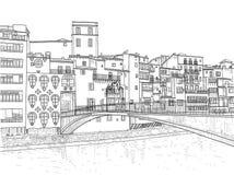 De Brug van Gomez in Girona Stock Illustratie