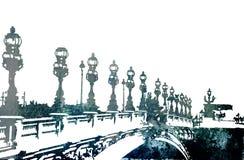 De brug van Grunge in Parijs stock illustratie