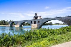 De brug van heilige Benezet, Avignon, Frankrijk stock afbeeldingen
