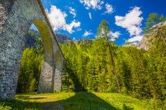 De brug van het Landwasserviaduct in Albula-pas Stock Foto