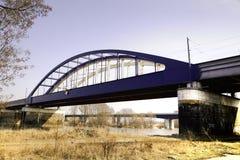 De brug van het spoor over de rivier Elbe Royalty-vrije Stock Fotografie