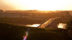 De brug van Kanavinsky in Nizhny Novgorod Stock Afbeelding
