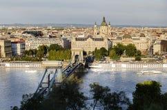 De Brug van de ketting in Boedapest stock fotografie