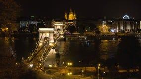 De Brug van de ketting in Boedapest stock video