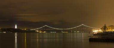 De brug van Lissabon - 25 DE Abril Stock Fotografie