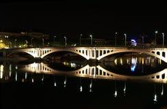 De brug van Lyon bij nacht Stock Afbeelding
