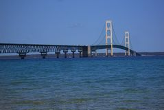 De Brug van Mackinac in Michigan stock foto