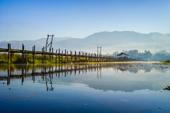 De Brug van Maingsthauk, Inle-Meer, Shan State, Myanmar. Royalty-vrije Stock Foto's