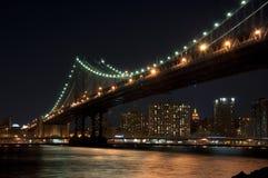 De brug van Manhattan bij nacht Royalty-vrije Stock Foto