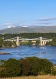 De Brug van Menai, Bangor, Wales Stock Foto's