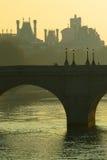 De brug van Neuf van Pont over de Zegen, Parijs Royalty-vrije Stock Afbeeldingen