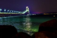 De brug van Nieuwpoort bij nacht Royalty-vrije Stock Afbeeldingen