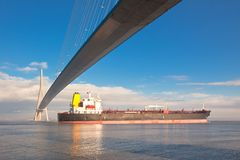 De brug van Normandië (Pont DE Normandie, Frankrijk) Stock Fotografie