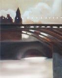 De brug van Parijs in ochtend lichte olie stock illustratie