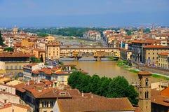 De Brug van Pontevecchio, cityscape van Florence Royalty-vrije Stock Afbeelding