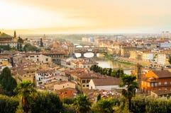 De brug van Pontevecchio, Florence, Toscanië, Italië Stock Foto