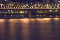 De Brug van Portland bij Nacht Royalty-vrije Stock Foto's