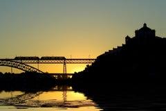 De brug van Porto D. Luis stock foto
