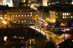 De Brug van Praag bij Nacht Royalty-vrije Stock Afbeelding