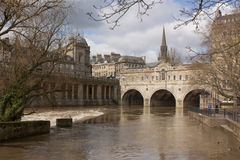 De Brug van Pulteney, Bad, Somerset, het UK Stock Foto's