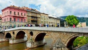 De brug van Sarajevo Gavrilo Princip stock afbeeldingen