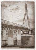 De brug van Swietokrzyski. Sephia. Stock Afbeelding