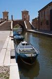 De brug van Trepponti. Comacchio. Emilia-Romagna. Italië Stock Afbeelding