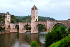 De brug van Valentre in Cahors Frankrijk Stock Fotografie