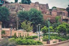 De Brug van Vrede over de Kura-Rivier in Tbilisi Stock Afbeelding