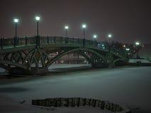 De brug van de de winternacht over de rivier in het bos, de wintersneeuw Stock Afbeelding