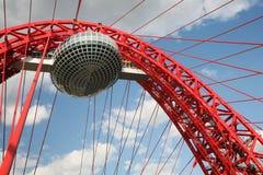 De brug van Zhivopisny in Moskou stock afbeelding