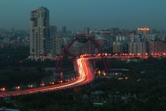 De brug van Zhivopisny in Moskou Mening van dak Stock Afbeelding