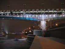 De brug in verlichting Stock Foto's