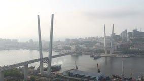 De brug in Vladivostok stock video