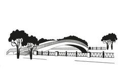 De brug wordt gesilhouetteerd Grafische stijl van linocut Rebecca 36 Stock Foto's