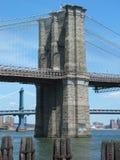 De bruggen van Brooklyn en van Manhattan Stock Fotografie
