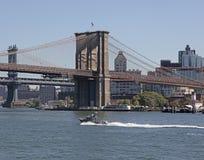 De Bruggen van Brooklyn en van Manhattan, NYC Stock Foto's