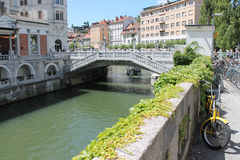 De bruggen van Ljubljana Stock Foto's