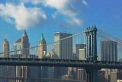 De bruggen van Manhattan en van Brooklyn Stock Foto's