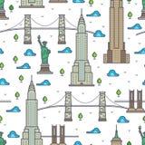 De bruggen van New York, wolkenkrabbers naadloos patroon royalty-vrije illustratie