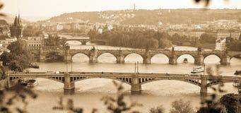 De bruggen van Praag Stock Afbeeldingen