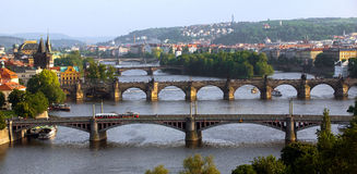 De bruggen van Praag Stock Fotografie