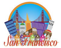 De Brugillustratie van San Francisco Abstract Skyline Golden Gate stock illustratie