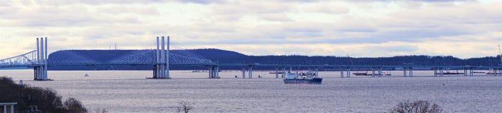 De brugpanorama December 2018 van Tappanzee Cuomo stock foto's