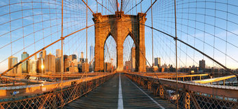 De brugpanorama van Brooklyn in New York, Lower Manhattan royalty-vrije stock fotografie