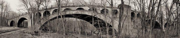 De brugpanorama van de spoorweg Stock Fotografie