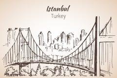 De Brugschets van Istanboel Bosphorus Turkije Royalty-vrije Stock Foto's