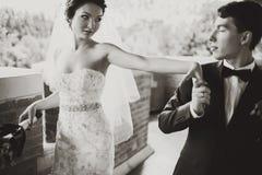 De bruid bereikt haar hand aan de bruidegom voor een kus Stock Afbeeldingen