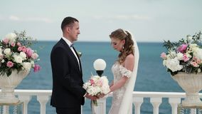 De bruid en de bruidegom bij de huwelijksceremonie Een jong paar in liefde bevindt zich bij de boog Huwelijk door het overzees stock videobeelden