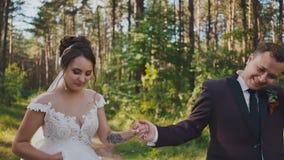De bruid en bruidegom die in een pijnboombos lopen, handen houden en elkaar de bekijken De kus van de lucht gelukkig samen Gang b stock footage